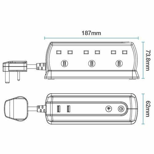 Masterplug 1M 6-Gang Compact Surge Extension Lead + 2 x 2.1A USB Slot - Polished Black