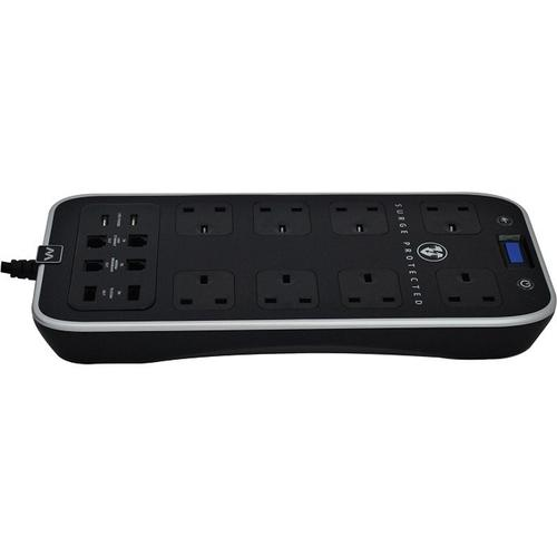 Masterplug 1M 8-Gang Surge Extension Lead + 2 x 2.1A USB Slot - Polished Black