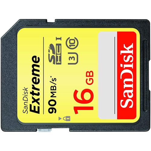 SanDisk 16GB Extreme SD Card (SDHC) UHS-I U3 - 90MB/s - 2 Pack FFP