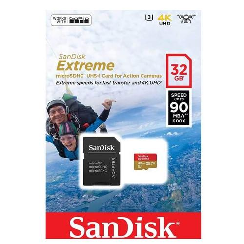 SanDisk 32GB Extreme V30 Action Camera Micro SD Card (SDHC) UHS-I U3 + Adapter - 90MB/s