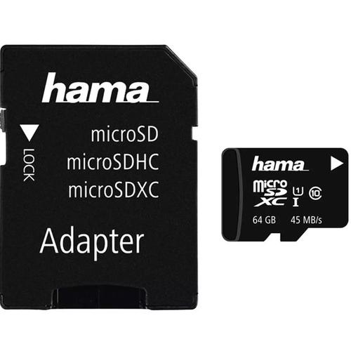 Hama 64GB Micro SD Karte (SDXC) + Adapter - 45MB/s