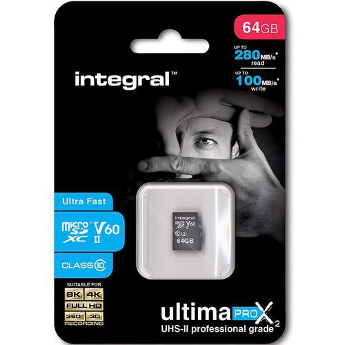 Integral 64GB UltimaPRO-X2 V60 Micro SD Card (SDXC) UHS-II U3 - 280MB/s