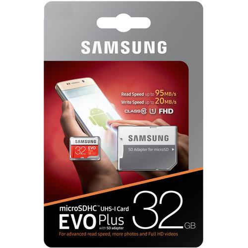 Samsung 32GB Evo Plus Micro SD Karte (SDHC) UHS-I U1 + Adapter - 95MB/s