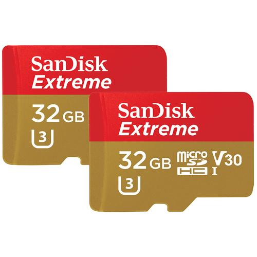 SanDisk 32GB Extreme V30 Action Camera Micro SD Card (SDHC) A1 UHS-I U3 - 100MB/s - 2 Pack