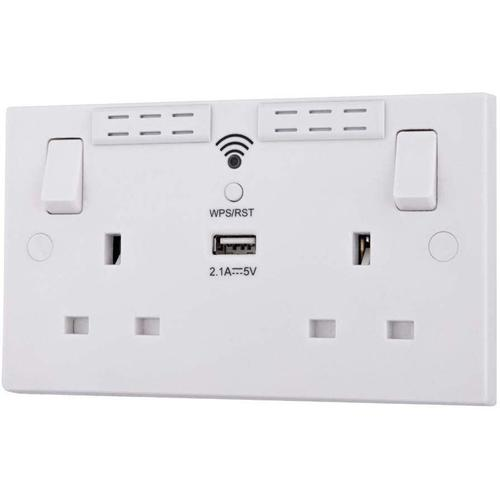 British General Wi-Fi Extender Switched Double Socket + USB Port - White