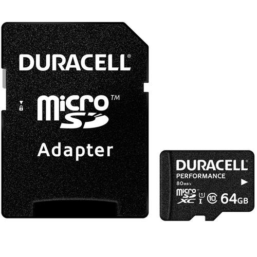 Duracell Performance 64GB Micro SD Card (SDXC) UHS-I U1 + Adapter
