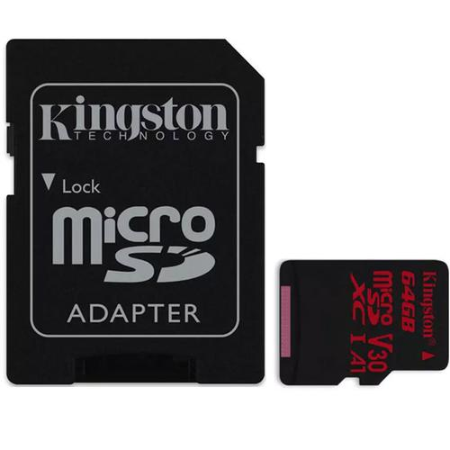 Kingston 64GB Canvas React Micro SD Card (SDXC) UHS-I U3 V30 + Adapter - 100MB/s