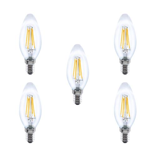 Integral LED Glass Candle Bulb E14 4W (36W) 2700K Non-Dimmable Lamp - 5 Pack