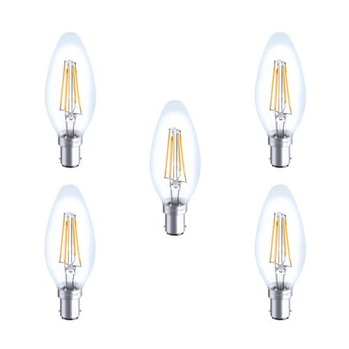 Integral LED Glass Candle Bulb B15 4W (36W) 2700K Non-Dimmable Lamp - 5 Pack