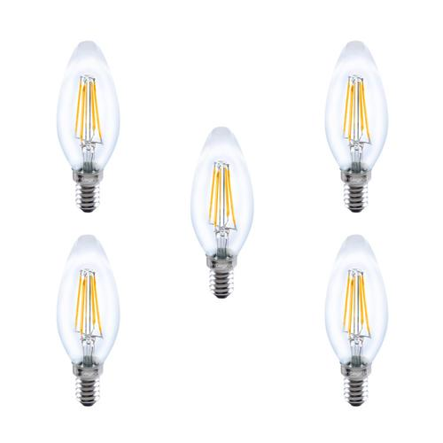 Integral LED Full Glass Candle Bulb E14 3.5W (31W) 2700K Dimmable Lamp - 5 Pack