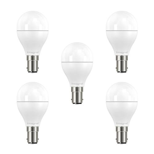 Integral LED Mini Globe B15 5.5W (40W) 2700K Non-Dimmable Frosted Lamp - 5 Pack
