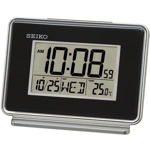 Seiko LCD Dual Alarm Calendar Clock - Black