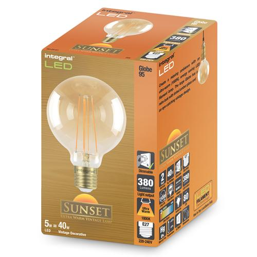 Integral G95 LED Vintage Globe Bulbs E27 5W (40W) 1800K (Ultra-Warm) Dimmable Lamp