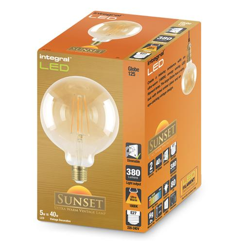 Integral G125 LED Vintage Globe Bulb E27 5W (40W) 1800K (Ultra-Warm) Dimmable Lamp