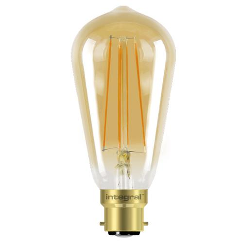Integral ST64 LED Vintage Globe Bulb B22 5W (40W) 1800K (Ultra-Warm) Dimmable Lamp