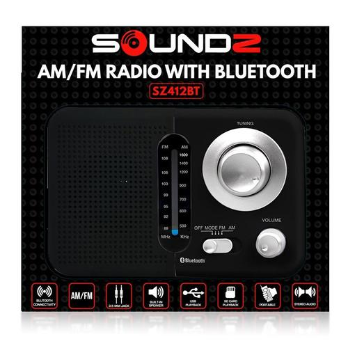 SoundZ BT USB SD AC/DC Portable Radio - Black