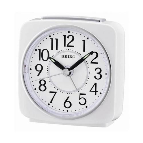 Seiko QHE140W Analogue Alarm Clock - White