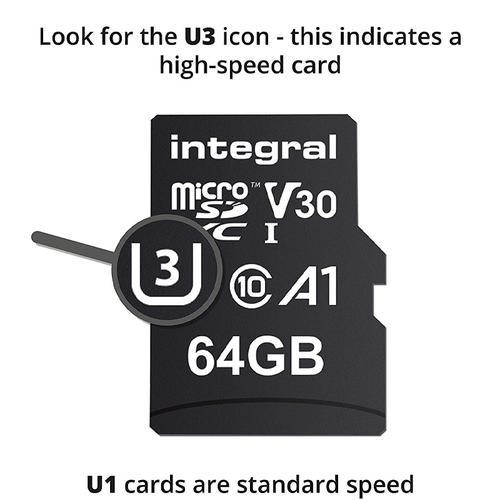 Integral 64GB UltimaPRO V30 Premium Micro SD Card (SDXC) UHS-I U3 + Adapter - 100MB/s