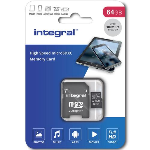 Integral 64GB V10 High Speed Micro SD Card (SDXC) UHS-I U1 + Adapter
