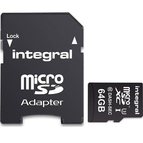 Integral 64GB High Endurance Micro SD Card (SDXC) + Adapter - 95MB/s