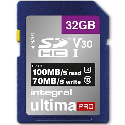 Integral 32GB UltimaPRO V30 Premium SD Karte (SDHC) UHS-I U3 - 100MB/s