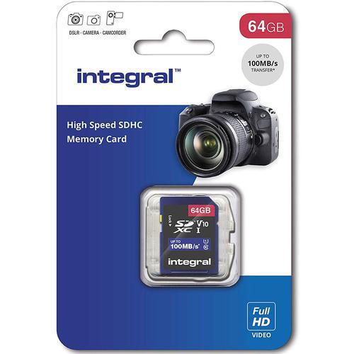 Integral 64GB High Speed SD Card (SDXC) UHS-I U1 V10 - 100MB/s