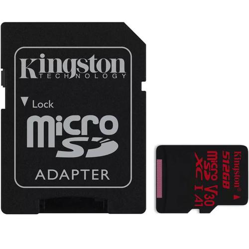 Kingston 512GB Canvas React Micro SD Card (SDXC) UHS-I U3 V30 + Adapter - 100MB/s