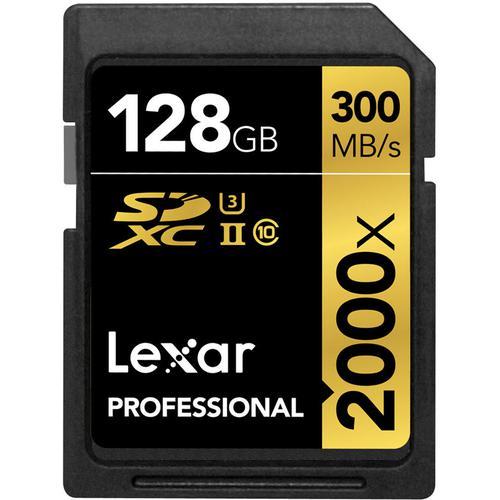 Lexar 128GB 2000X Professional SD Card (SDXC) UHS-II U3 + Card Reader - 300MB/s