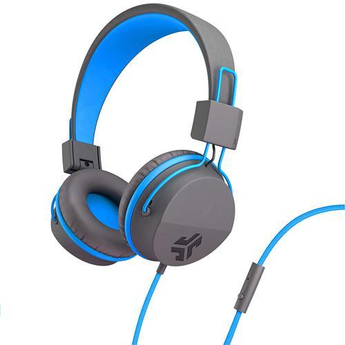 JLab Neon Wired Headphones In-Line Mic + Controls - Grey/Blue