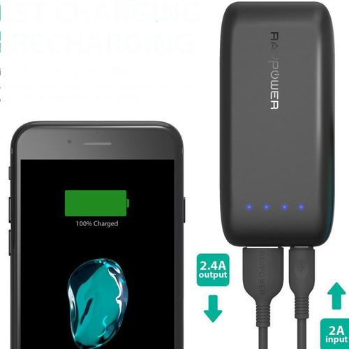 RAVPower 2.4A 6700mAh Tragbare Power Bank - Schwarz