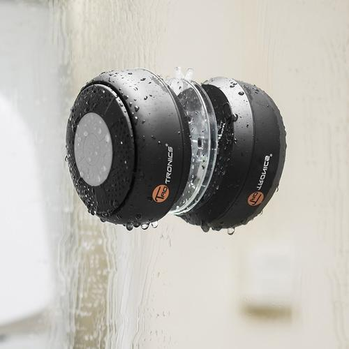 TaoTronics Water Resistant Portable Wireless Shower Speaker with Microphone - Black
