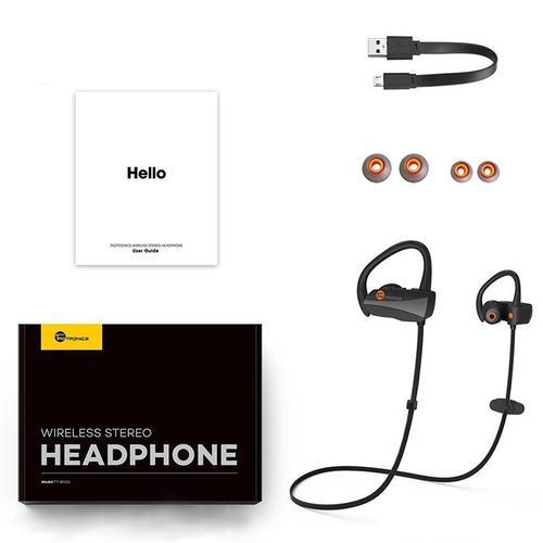 TaoTronics Wireless Sweatproof Sports Headphones + Mic - Black