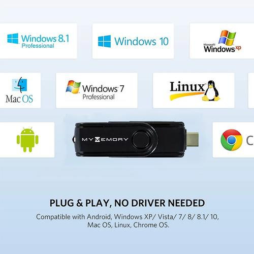 MyMemory USB 3.1 + USB-C SD und Micro SD Kartenleser - Schwarz