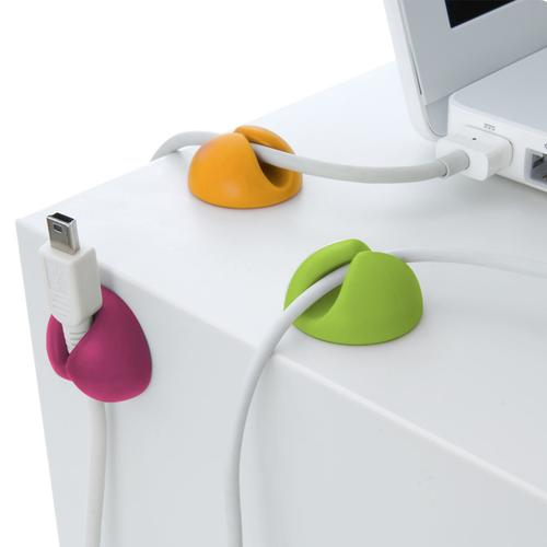 oneo Multi-Coloured Cable and Cord Organiser Clips - 6 Pack