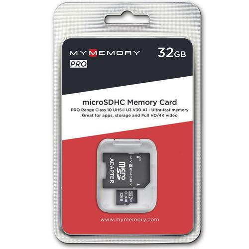 MyMemory 32GB V30 PRO Micro SD Card (SDHC) A1 UHS-1 U3 + Adapter - 100MB/s