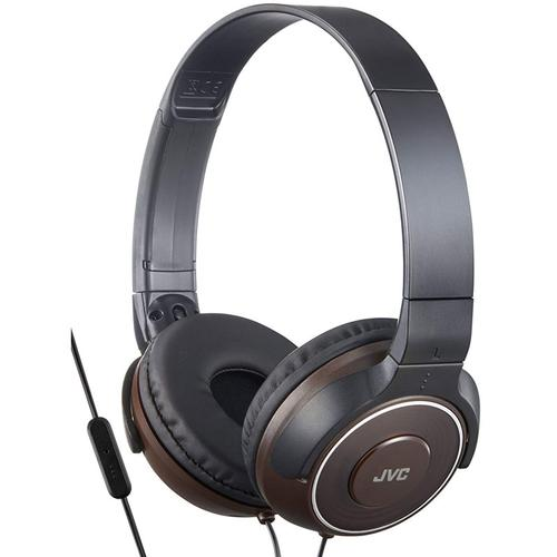 JVC Lightweight Foldable Headphones with Remote Control & Microphone - Brown