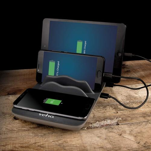 Veho TA-7 4 Port Charging Hub with Qi Wireless Charging