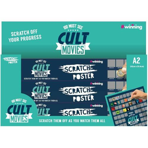 Scratch Poster A2 Size - 100 Cult Movies