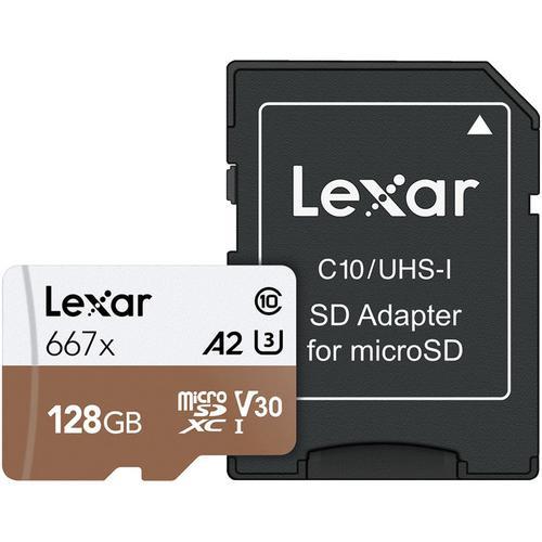 Lexar 128GB Professional Micro SD (SDXC) Card UHS-I U3 A2 + Adapter - 100MB/s