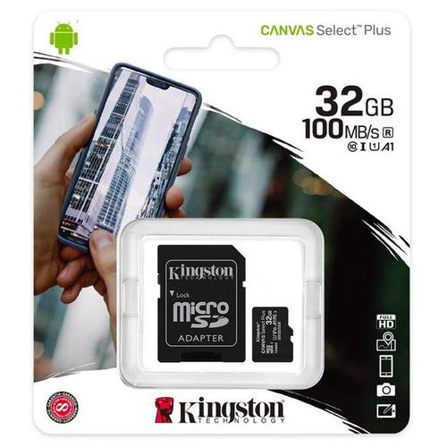 Kingston 32GB Canvas Select Plus micro SD Card (SDHC) + SD Adapter - 100MB/s