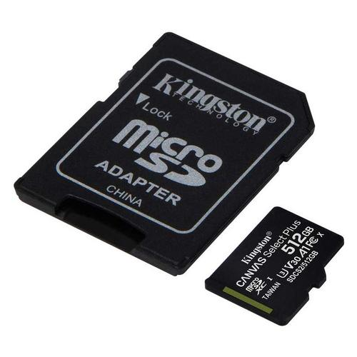 Kingston 512GB Canvas Select Plus micro SD Card (SDXC) + SD Adapter - 100MB/s