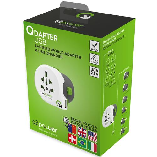 Q2Power Qdapter Worldwide Travel Adapter with USB Port