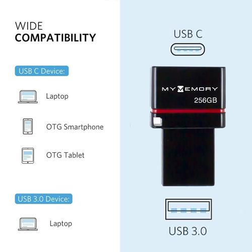 MyMemory 256GB Dual USB-C & USB 3.1 Flash Drive - 200MB/s