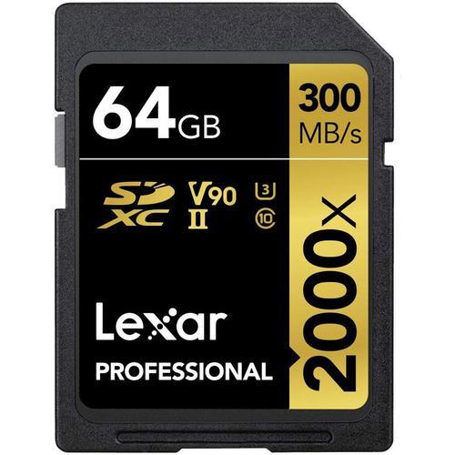 Lexar 64GB 2000X Professional SD Card (SDXC) UHS-II U3 + Card Reader - 300MB/s