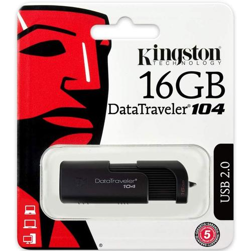 Kingston 16GB DataTraveler 104 USB Flash Drive - Black