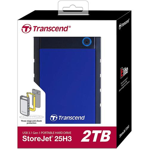 Transcend 2TB StoreJet USB 3.1 Portable Hard Drive - Black/Blue