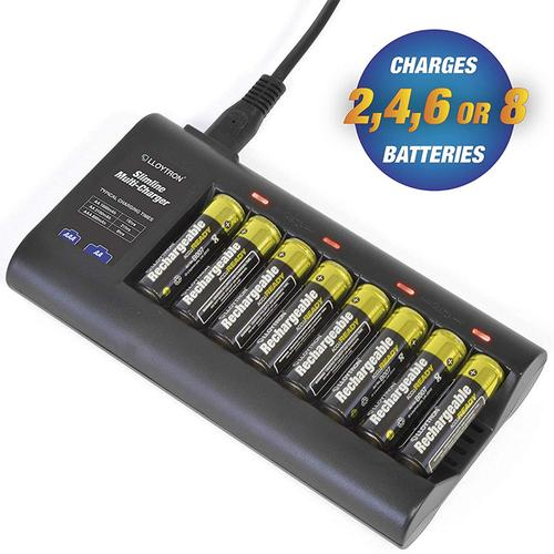 Lloytron Slimline Battery Charger + 4 x AA (1300mAh) & 4 x AAA (900mAh) Batteries Included
