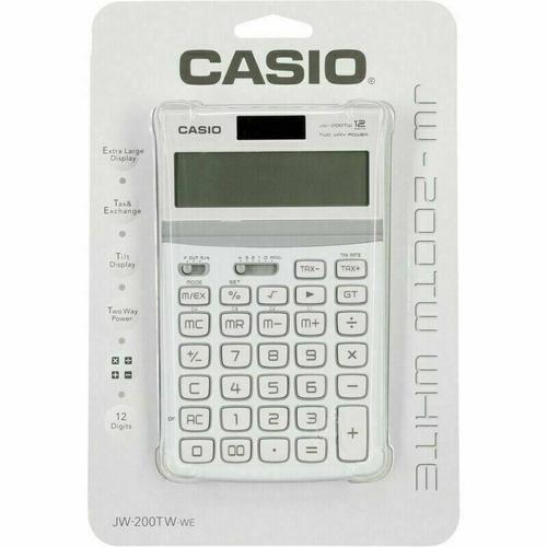 Casio 12 Digit Desk Calculator with Tilt Display - White
