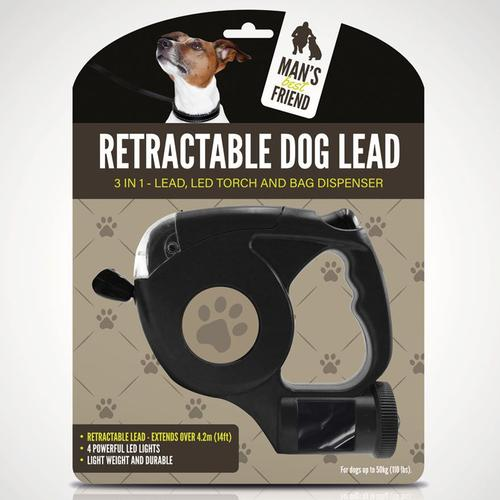 3-In-1 Retractable Dog Lead with Light & Poo Bag