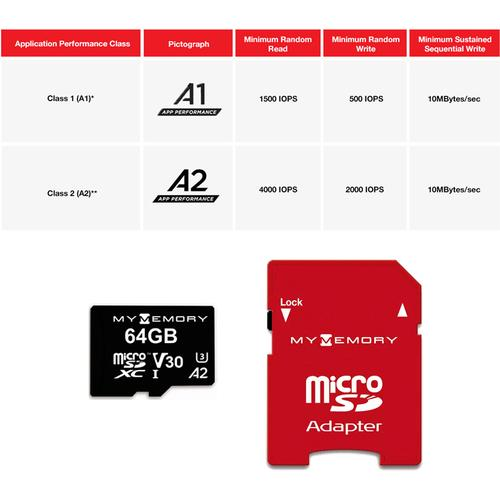 MyMemory 64GB V30 PRO Micro SD Card (SDXC) A2 UHS-1 U3 + Adapter - 180MB/s